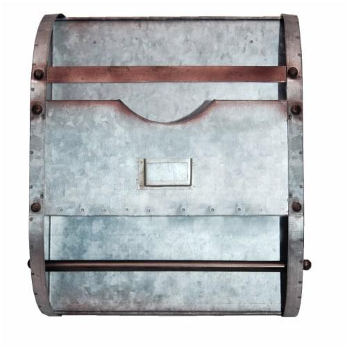 Benzara Galvanized Metal Bathroom Caddy - Gray Perspective: front