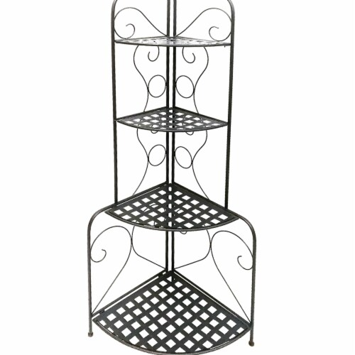 Benzara C482-FS180591 Scrolled Accent Metal Foldable Corner Rack with Mesh Design Storage She Perspective: front