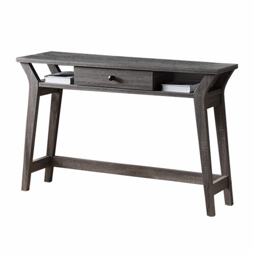 Benzara Wooden Desk with Drawer and Shelves - Distressed Gray Perspective: front