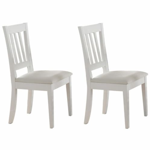 Benzara Wooden Dining Chairs 2 Pack - White Perspective: front