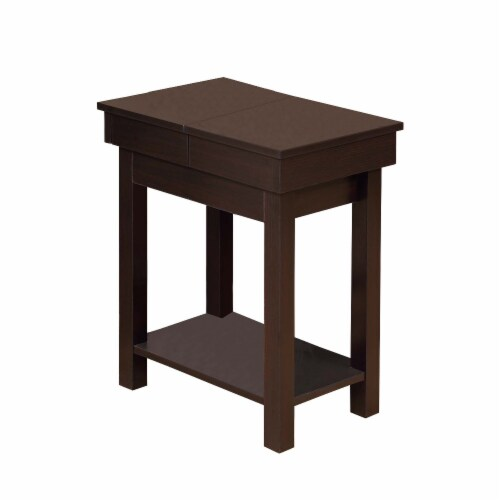 Benzara Wooden Chair Side Table - Red Cocoa Brown Perspective: front