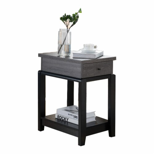 Benzara Wooden Chair Side Table with Bottom Shelf - Distressed Gray/Black Perspective: front