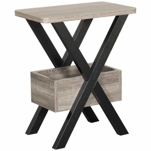Benzara Wooden Chairside Table - Distressed Gray/Black Perspective: front