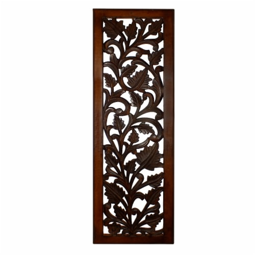 Benzara Leaves and Scrollwork Pattern Mango Wood Wall Panel - Brown Perspective: front