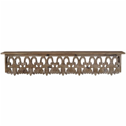 Benzara Large Aesthetic Wooden Wall Shelf - Brown Perspective: front