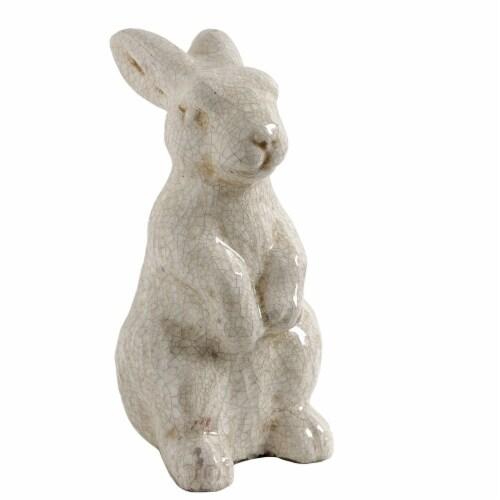 Benzara Ceramic Standing Rabbit Decor Accent - Cream Perspective: front