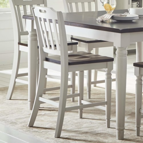 Wooden Counter Height Stool with Slatted Back, Set of Two, Dark Brown and White Perspective: front