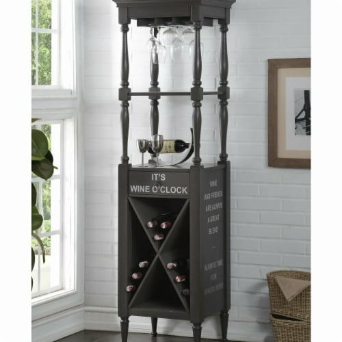 Benzara BM184775 Wooden Wine Cabinet with Spacious Wine Bottle Holder, Gray - 73 x 18 x 20 in Perspective: front
