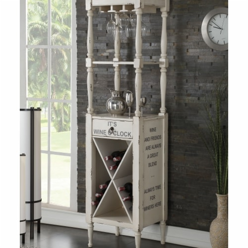 Benzara BM184776 Wooden Wine Cabinet with Spacious Wine Bottle Holder, White - 73 x 18 x 20 i Perspective: front