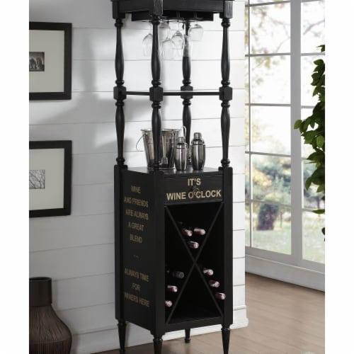 Benzara BM184777 Wooden Wine Cabinet with Spacious Wine Bottle Holder, Black - 73 x 18 x 20 i Perspective: front