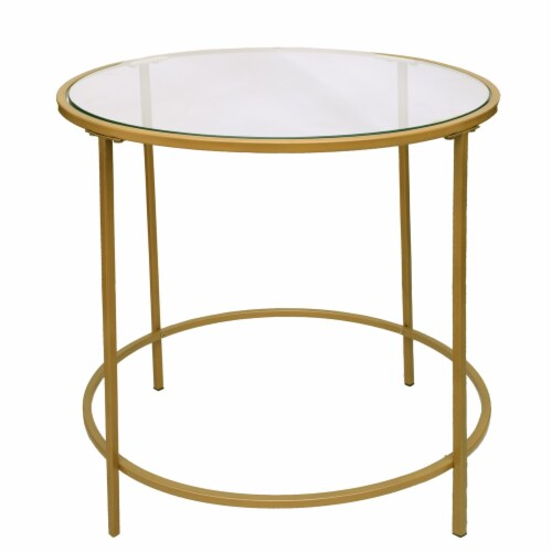 Benzara Round End Table - Gold/Clear Perspective: front
