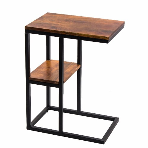 Benzara Iron Framed Mango Wood Accent Table - Brown Perspective: front