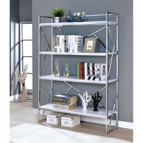 Benjara 15  4-shelf Metal Bookcase with Geometric Sides in White and Silver Perspective: front