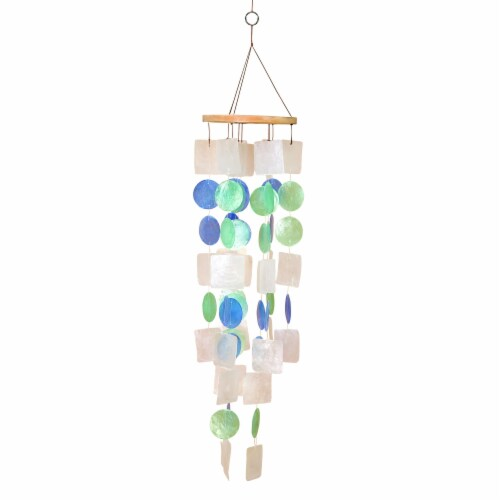Benzara BM02690 Coastal Inspired Wind Chime with Wooden Round Top & Ring Handle, Multi Color Perspective: front