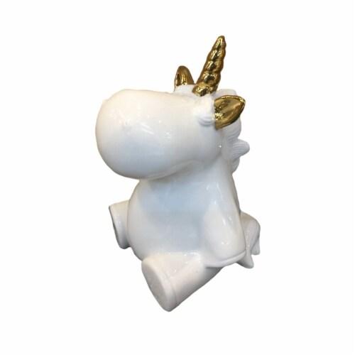 Benzara Decorative Baby Unicorn - White/Gold Perspective: front