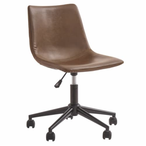 Benzara Faux Leather Upholstered Metal Swivel Chair - Brown/Black Perspective: front
