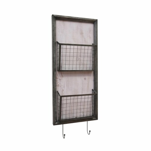 Benzara BM191724 Traditional Metal Two Tier Wall Basket with Two Hooks - Gray - 32.75 x 3.5 x Perspective: front