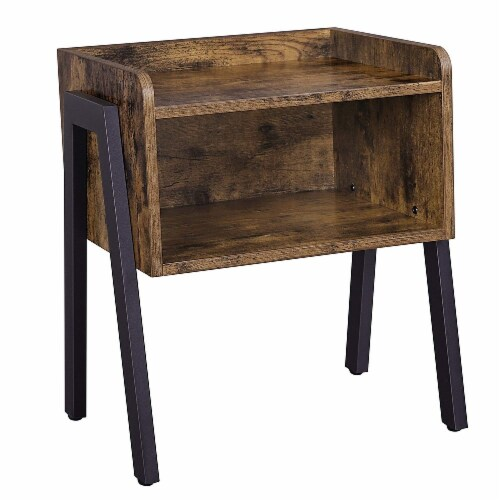Benzara Wooden Stackable End Table - Brown/Black Perspective: front