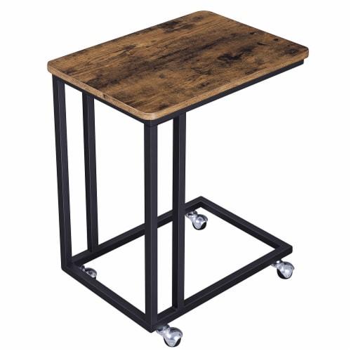 Benzara Rustic Wooden Side Sofa Table - Brown/Black Perspective: front
