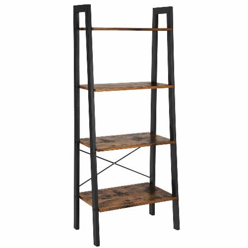 Benzara 4-Tier Rustic Wooden Ladder Shelf - Brown/Black Perspective: front