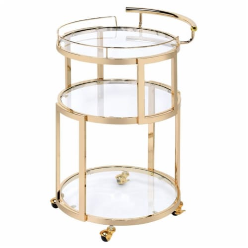 Benzara Three Tiered Metal Serving Cart with Glass Shelves Perspective: front