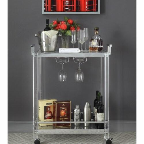 Benzara Metal Serving Cart with Open Bottom Shelf, Silver Perspective: front