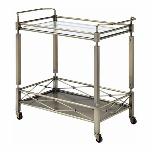 Benzara Two Tiered Metal Serving Cart with Glass Shelves & Side Rails, Antique Gold Perspective: front