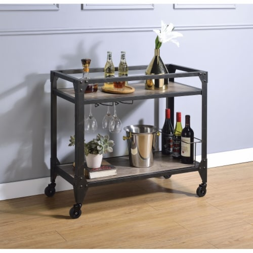 Benzara BM194349 Metal Framed Serving Cart with Wooden Shelves with Wine Bottle Holder, Brown Perspective: front