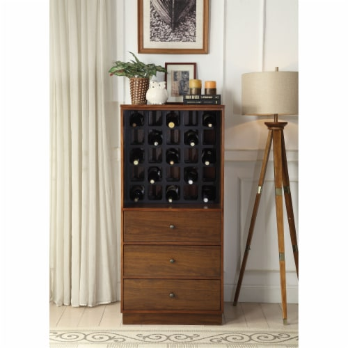 Benzara BM194371 Wooden Wine Cabinet with Wine Bottle Rack & Three Drawers, Brown & Black Perspective: front