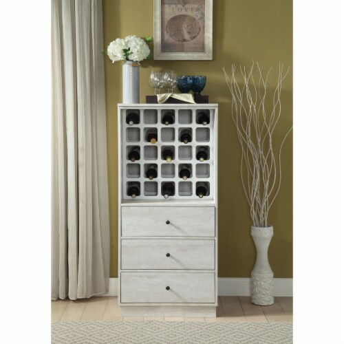 Benzara BM194373 Wooden Wine Cabinet with Wine Bottle Rack & Three Drawers, White - 51.73 x 2 Perspective: front