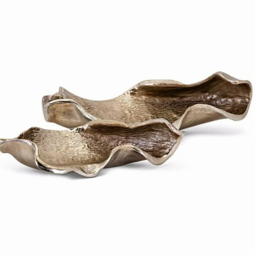 Benzara BM195439 Tree Bark Textured Aluminum Decorative Trays, Champagne Silver - Set of 2 Perspective: front