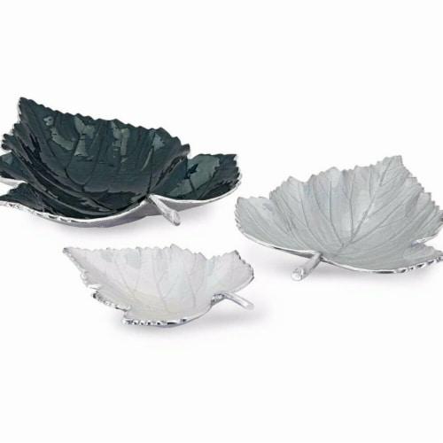 Benzara BM195649 Realistic Decorative Leaf Aluminum Trays, Gray & Silver - Set of 3 Perspective: front