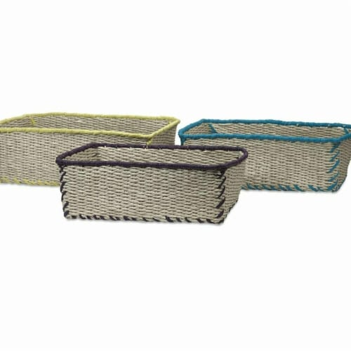 Benzara BM195569 Woven Rope Storage Baskets with Vivid Color Finish Trimmed Details, Multi Co Perspective: front