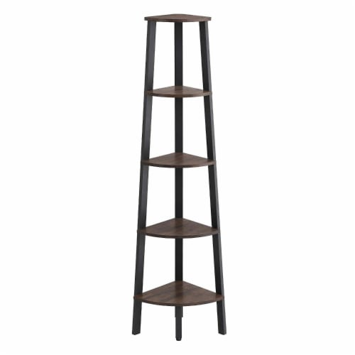 Benzara Industrial Style Free-Standing Iron Bookcase - Brown/Black Perspective: front