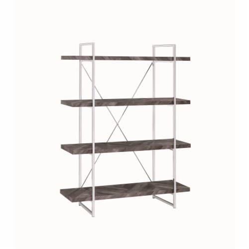 Benzara BM196775 4 Shelve Wood & Metal Bookcase with X Shape Back Support, Gray & Silver - 62 Perspective: front