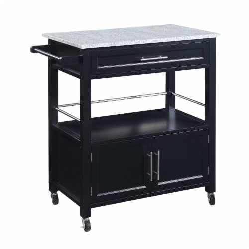 Benjara 33  Wood Spacious Kitchen Cart with Granite Inlaid Top in Black Perspective: front