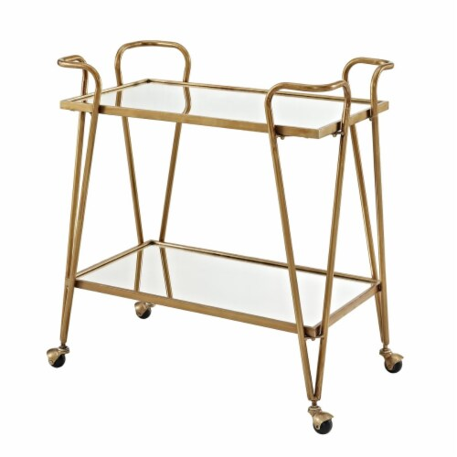 Benzara BM144195 2 Tier Mirror & Metal Bar Cart with Hairpin Legs, Gold & Clear - 31.75 x 30 Perspective: front