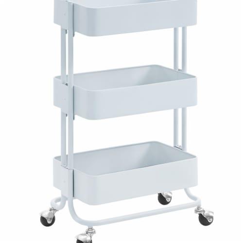 Benzara 3 Tier Metal Cart with Tubular Frame & Spacious Storage, White - 29.5x17 Perspective: front