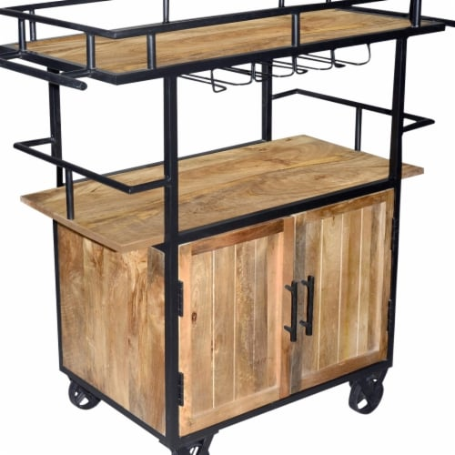 The Urban Port UPT-197312 Wood & Metal Bar Cart with Double Door Storage & Casters, Brown & B Perspective: front