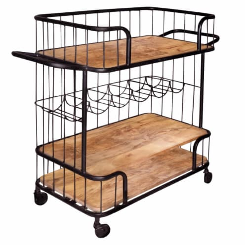 The Urban Port UPT-197314 Metal Frame Bar Cart with Wooden Top & 2 Shelves, Black & Brown Perspective: front
