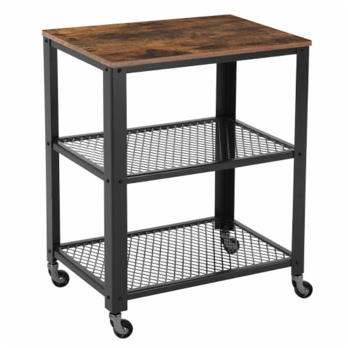 Benzara BM197496 3 Tier Wooden Serving Cart with 2 Mesh Design Shelves, Black & Brown - 30.1 Perspective: front