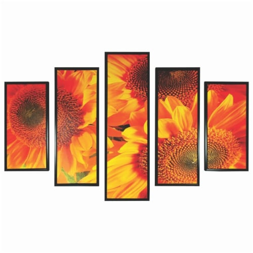 Saltoro Sherpi 5 Piece Wooden Wall Decor with Sun Flower Imprint, Yellow and Black Perspective: front