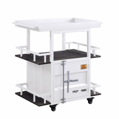 Benzara BM204485 Industrial Style Metal Serving Cart with Casters, White Perspective: front