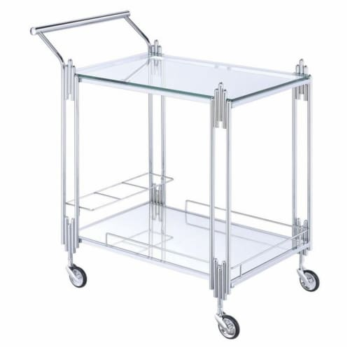 Benzara Metal & Mirror Rectangular Serving Cart with Open Shelf, Silver Perspective: front