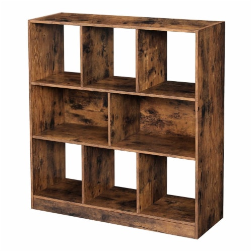 Benzara Wooden Bookcase - Distressed Brown Perspective: front
