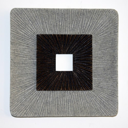 Saltoro Sherpi Square Shaped Wall Decor with Ribbed Details, Large, Brown and Gray Perspective: front