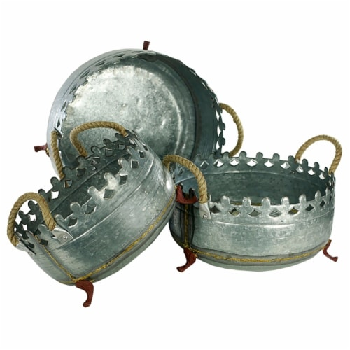 Saltoro Sherpi Metal Crown Style Planters with Golden Accenting, Gray, Set of 3 Perspective: front