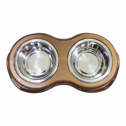 Saltoro Sherpi Plastic Framed Double Diner Pet Bowl in Stainless Steel, Small, Gold and Perspective: front