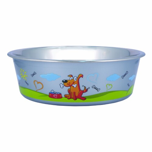 Saltoro Sherpi Set of 24 Multi Print Stainless Steel Dog Bowl By Boomer N Chaser Perspective: front