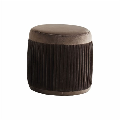 Benzara Flannelette Upholstered Round Ottoman - Brown Perspective: front